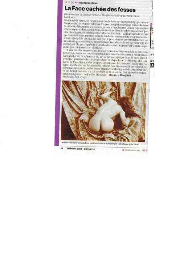 article Fesses Télérama mai 2013