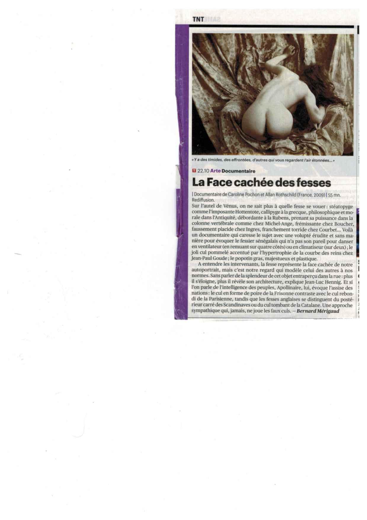 Article Télérama - Fesses rediff mai 2015